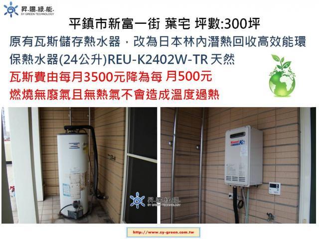 舊式瓦斯儲熱熱水器更換林內潛熱熱水器-安裝實例